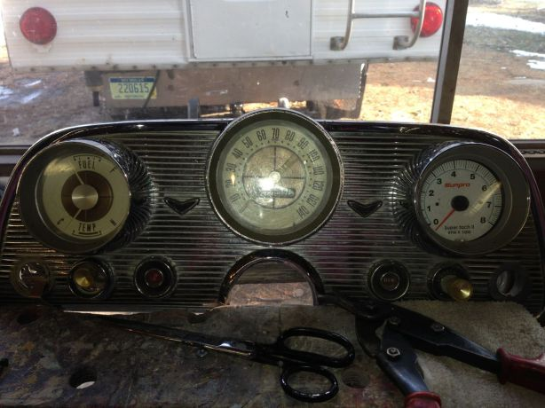 """The tach will get some of the face of the old clock, and little """"patina"""" on the face so as to match the original gauges."""