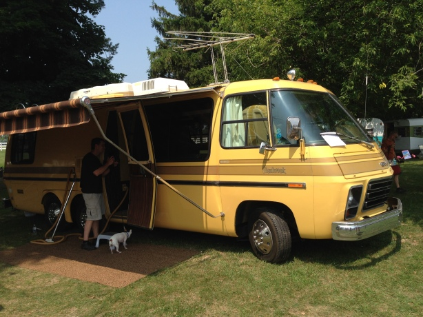 Beautiful GMC coach, owned a totol of 4 hours!  On it's maiden voyage with it's new owners from Traverse City, to Gilmore, then back to Wisconsin on the Badger.